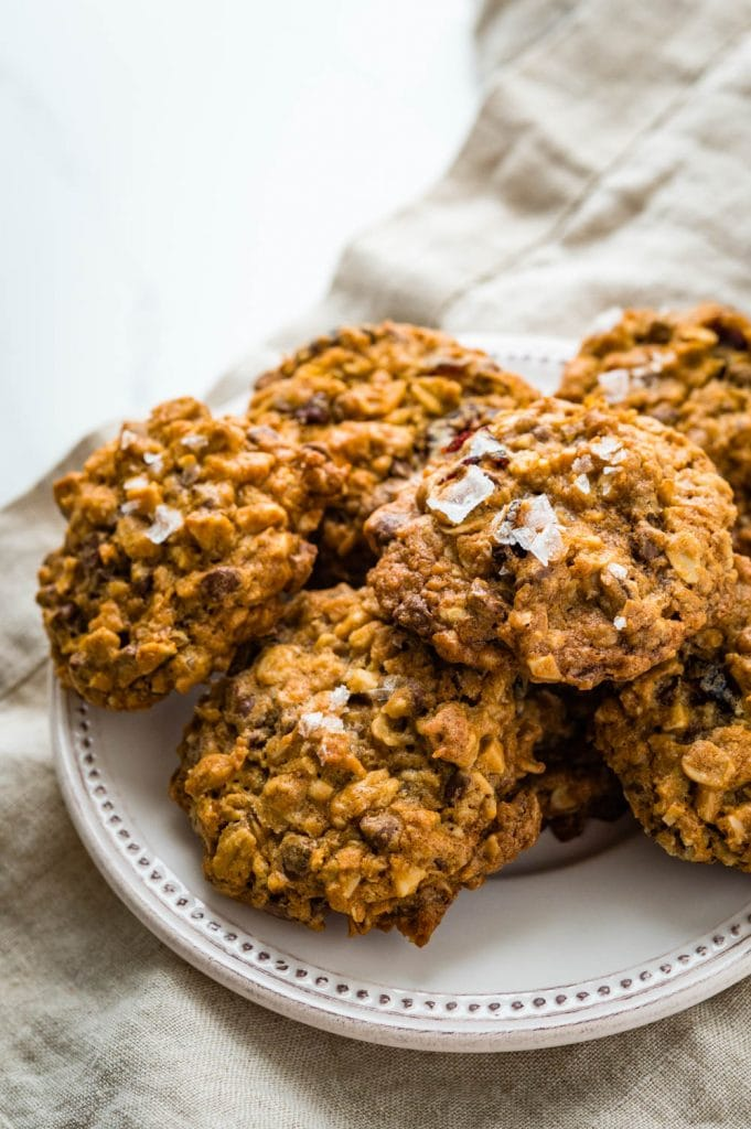 a plate of everything oatmeal cookies with sea salt.