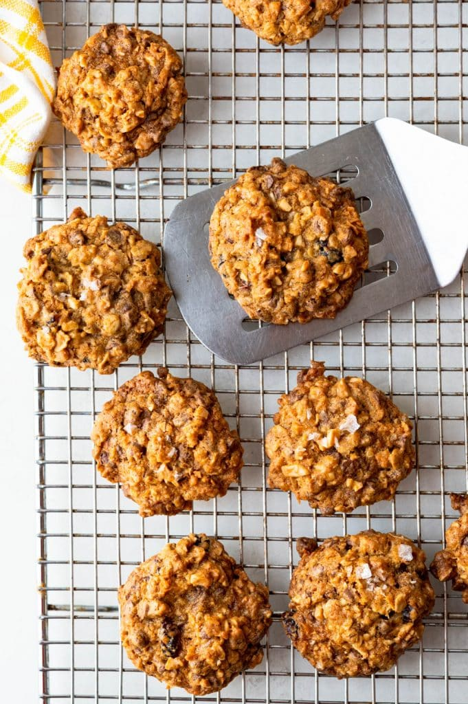 chewy oatmeal cookies cooling on a wire rack.