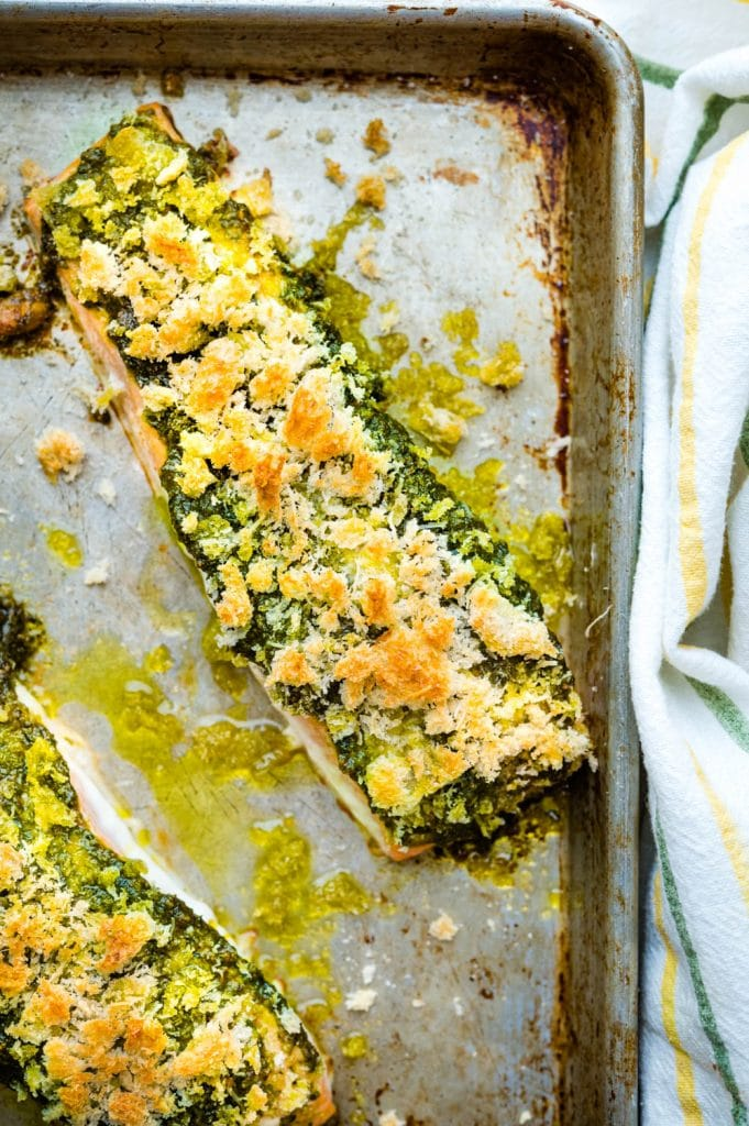 Pesto Baked Salmon hot from the oven.