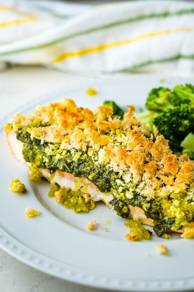 a closeup of the baked salmon.