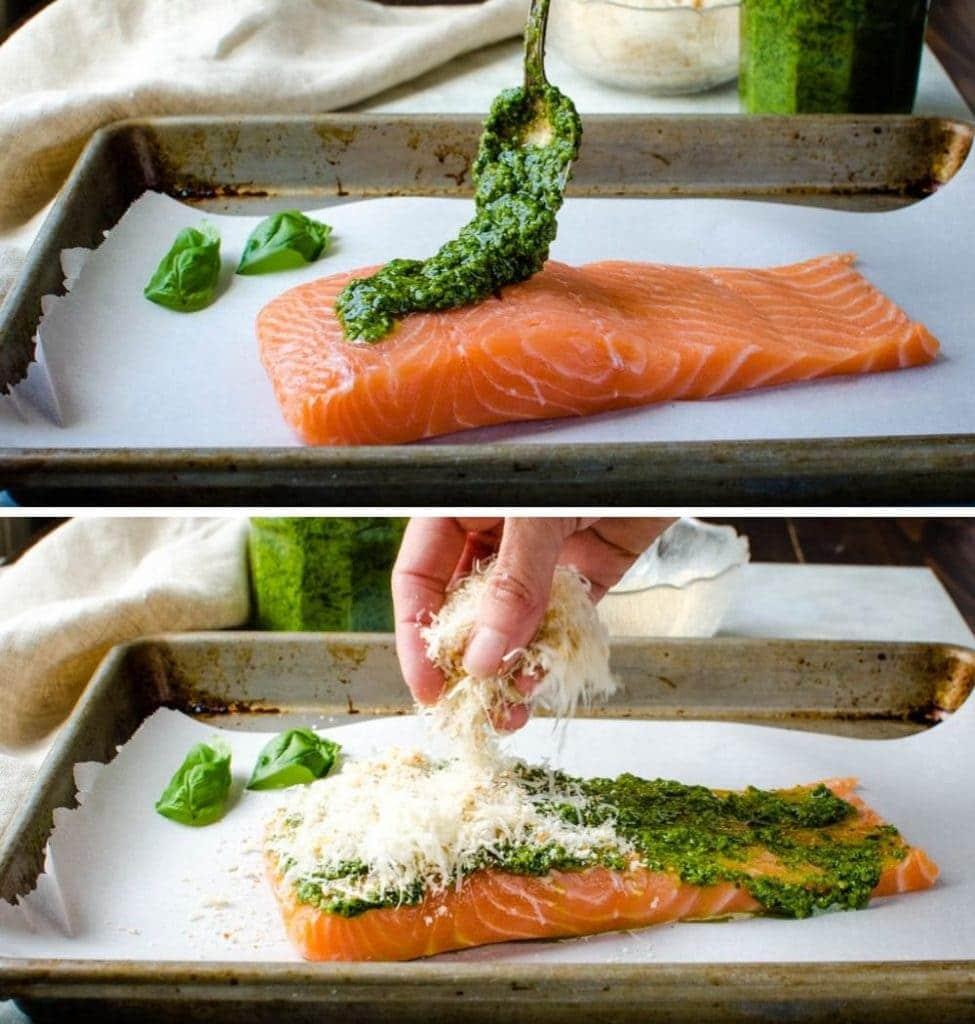 assembling the pesto crusted salmon.