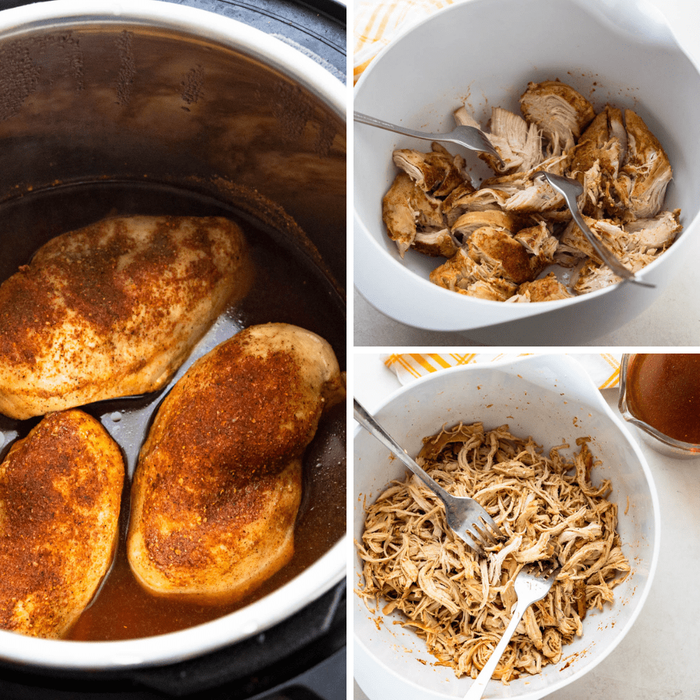 chicken breasts cooked in the Instant Pot and shredded.