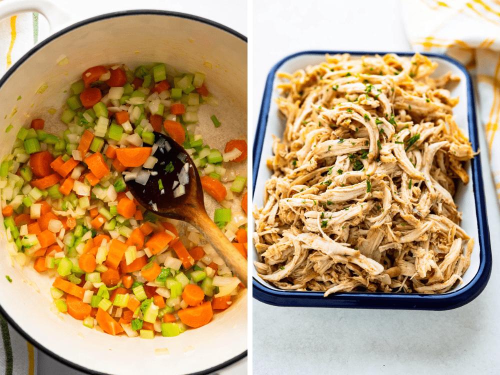 sautéing vegetables and adding shredded chicken.