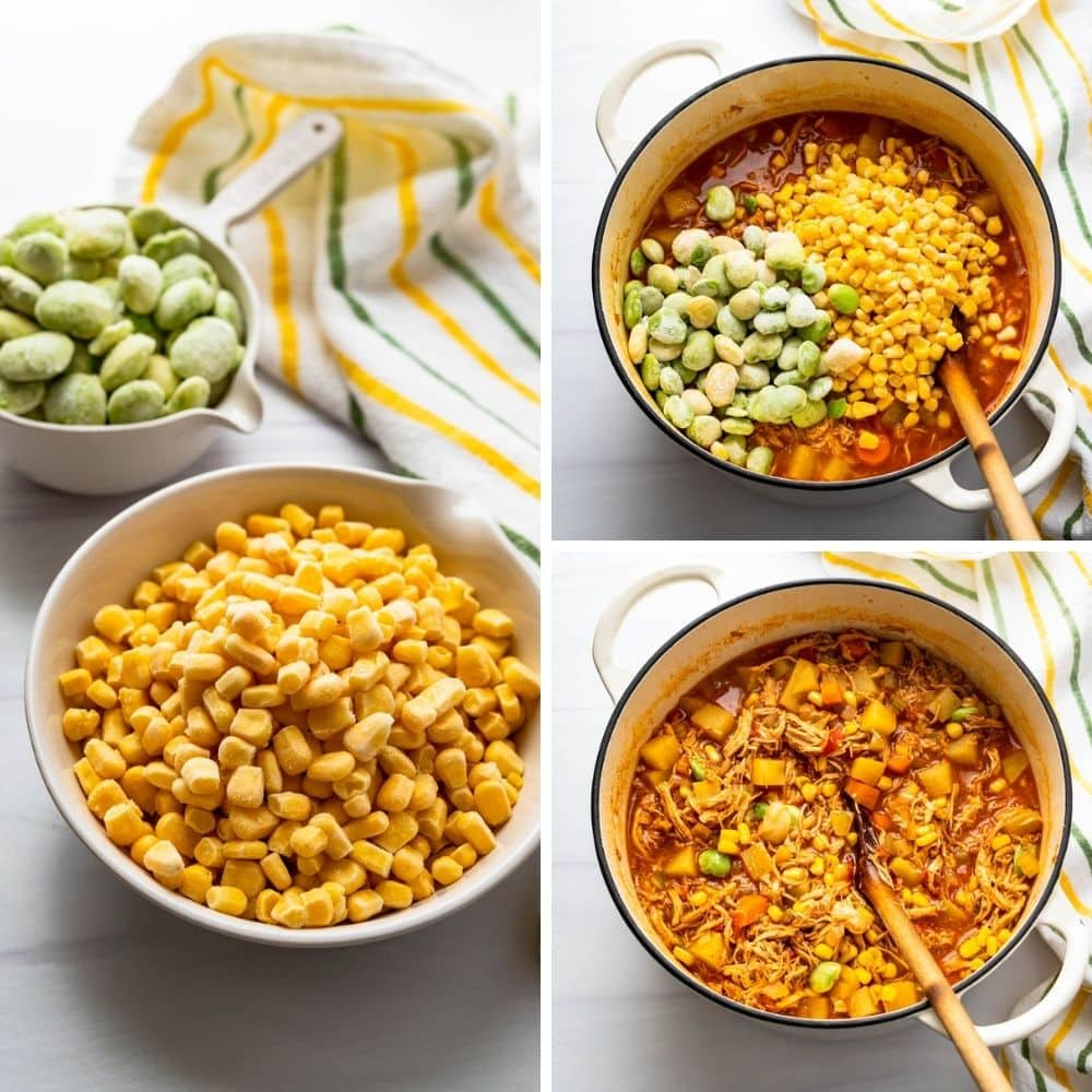 adding corn and lima beans to chicken brunswick stew.