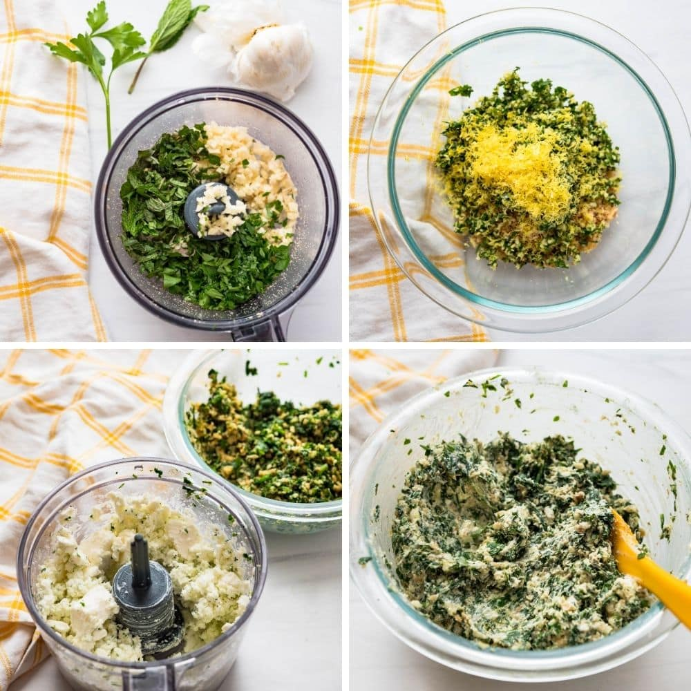 adding lemon and feta to the filling.