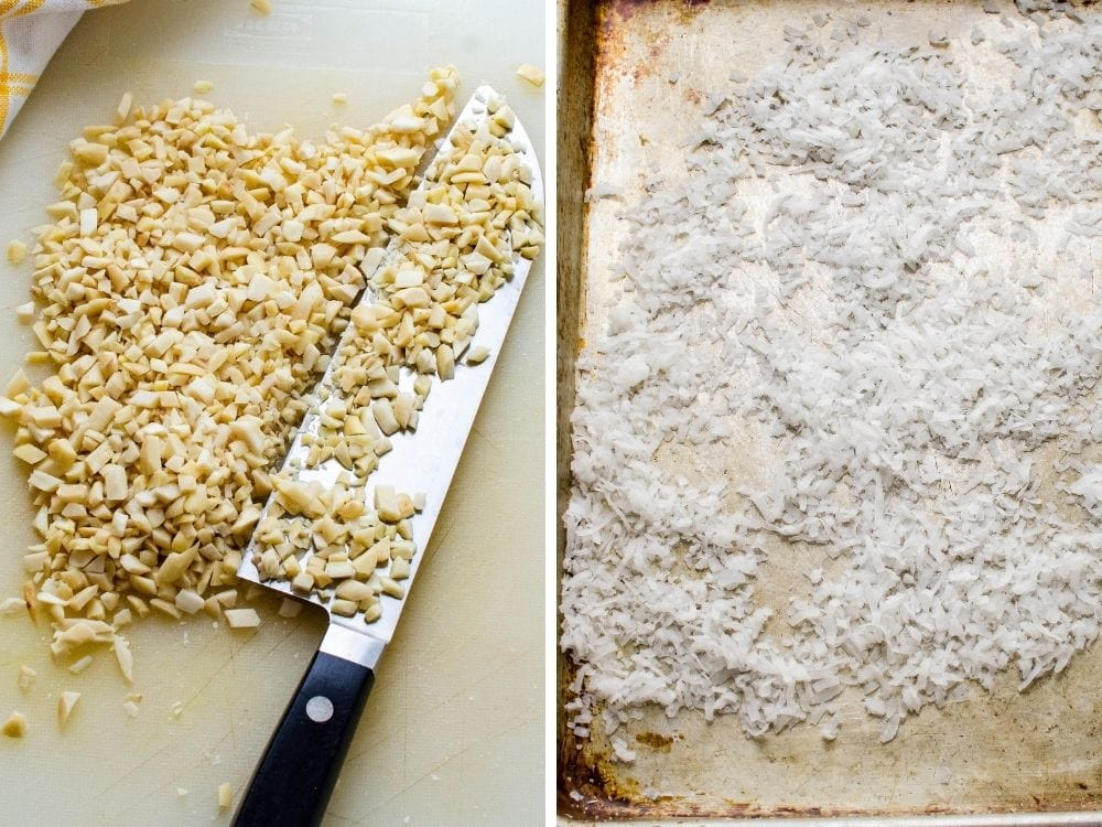 chopping almonds and toasting coconut on a sheet pan.