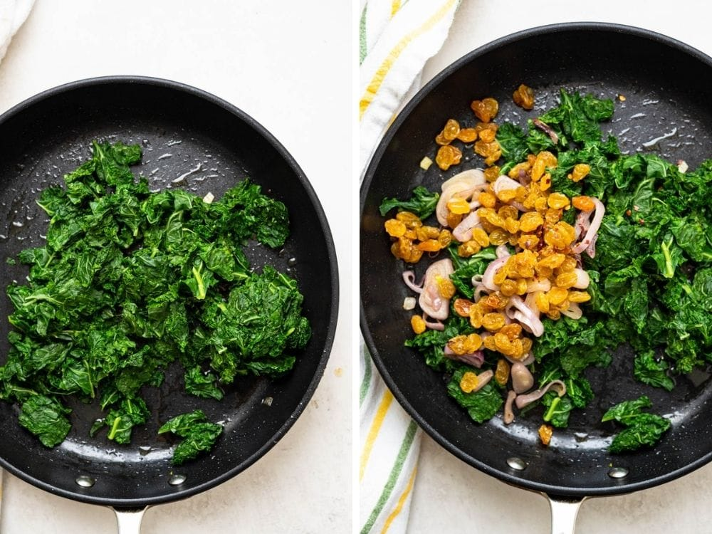 sautéing blanched kale with raisins and shallots.