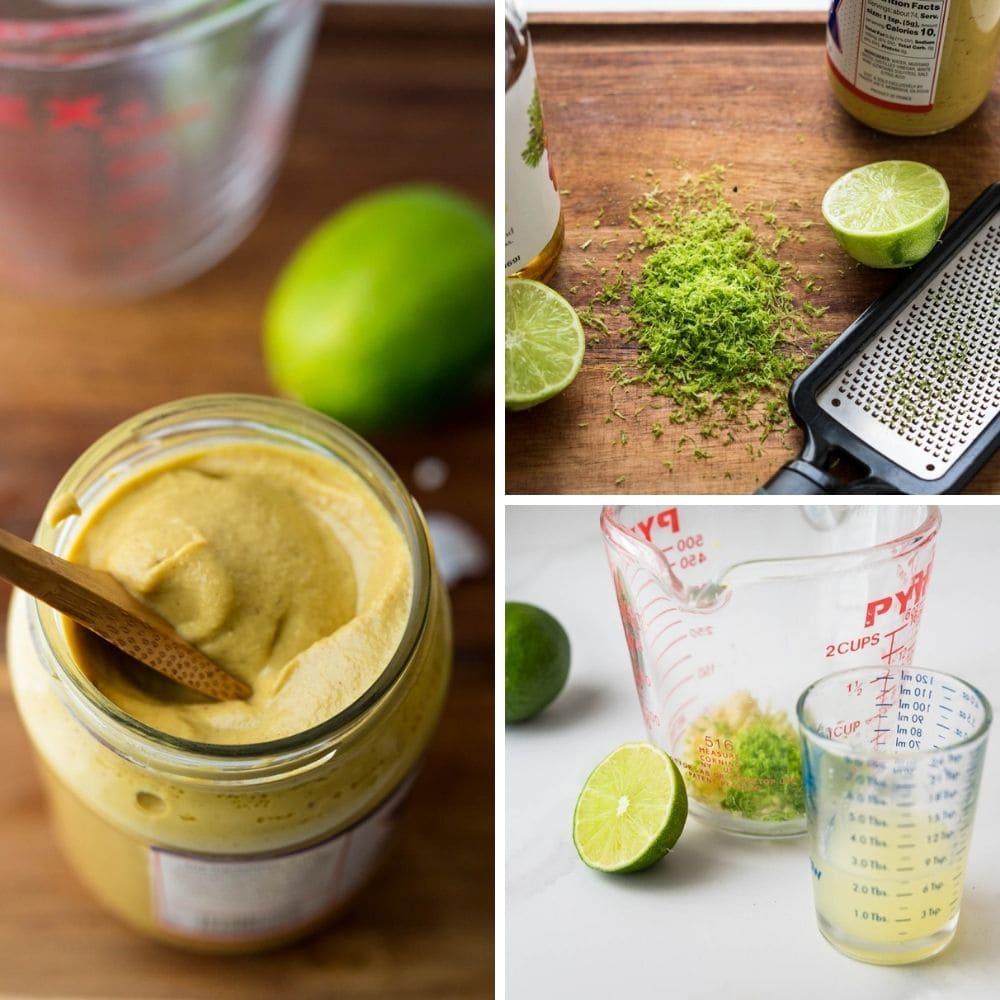 assembling the cumin lime vinaigrette dressing.