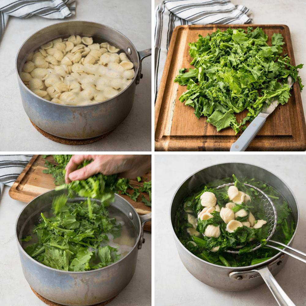 cooking orecchiette and broccoli rabe in the same pot.