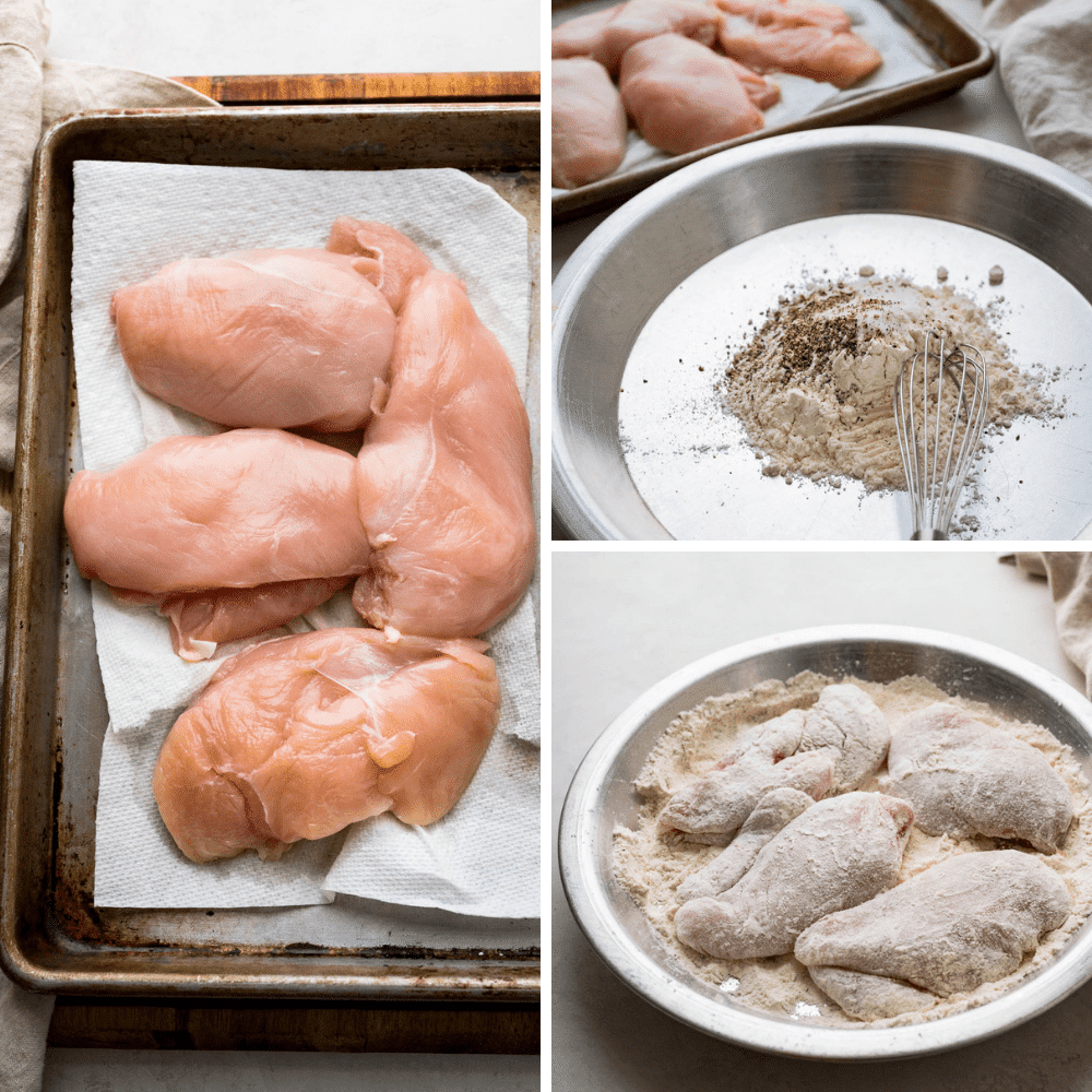 dusting the chicken with seasoned flour.