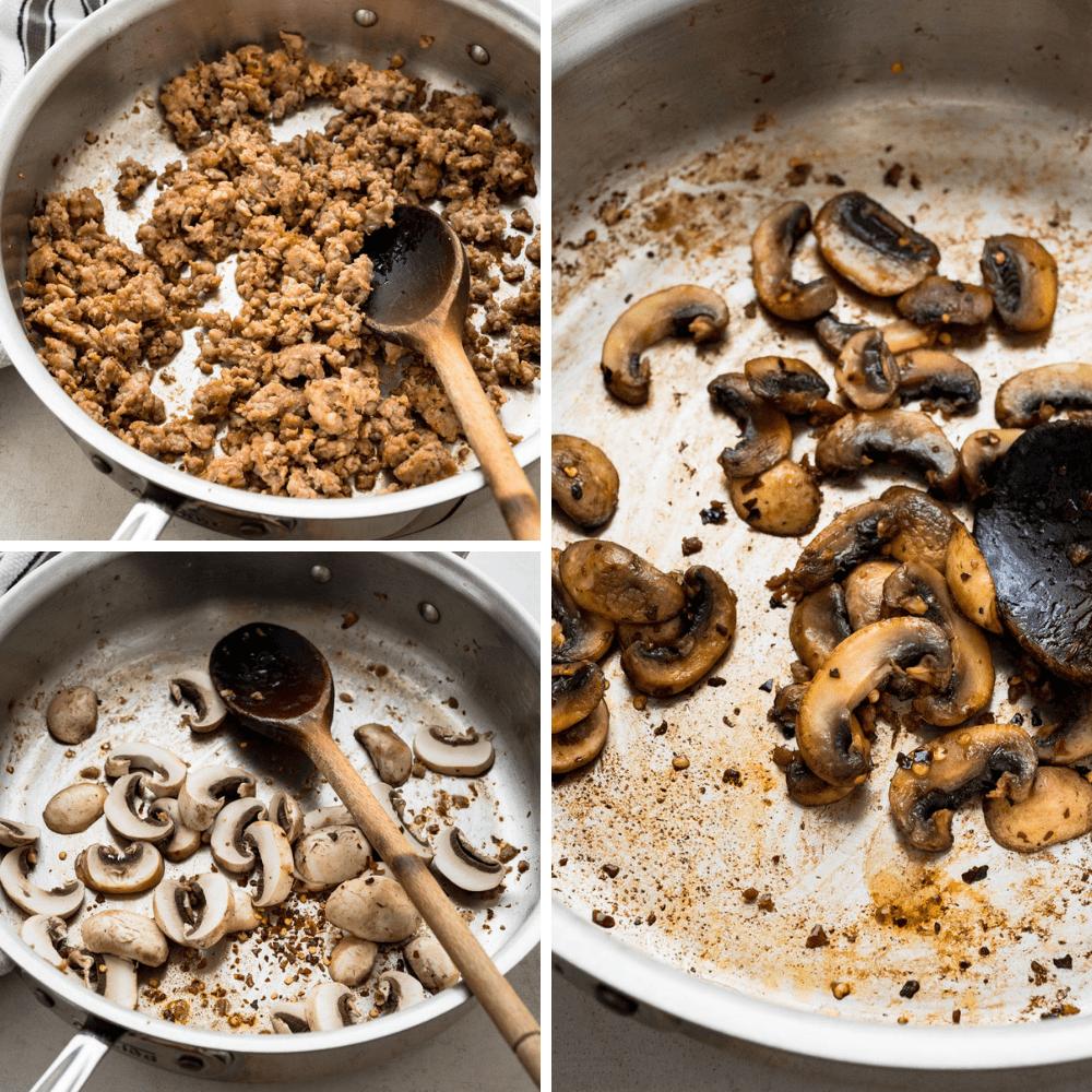 browning sausage and mushrooms.