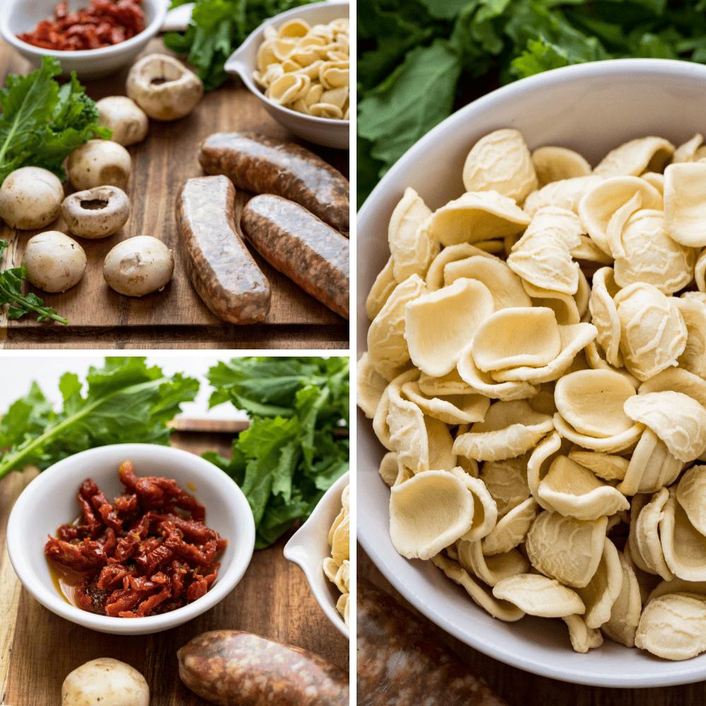 sausage, mushrooms, sun dried tomatoes, pasta and broccoli rabe.
