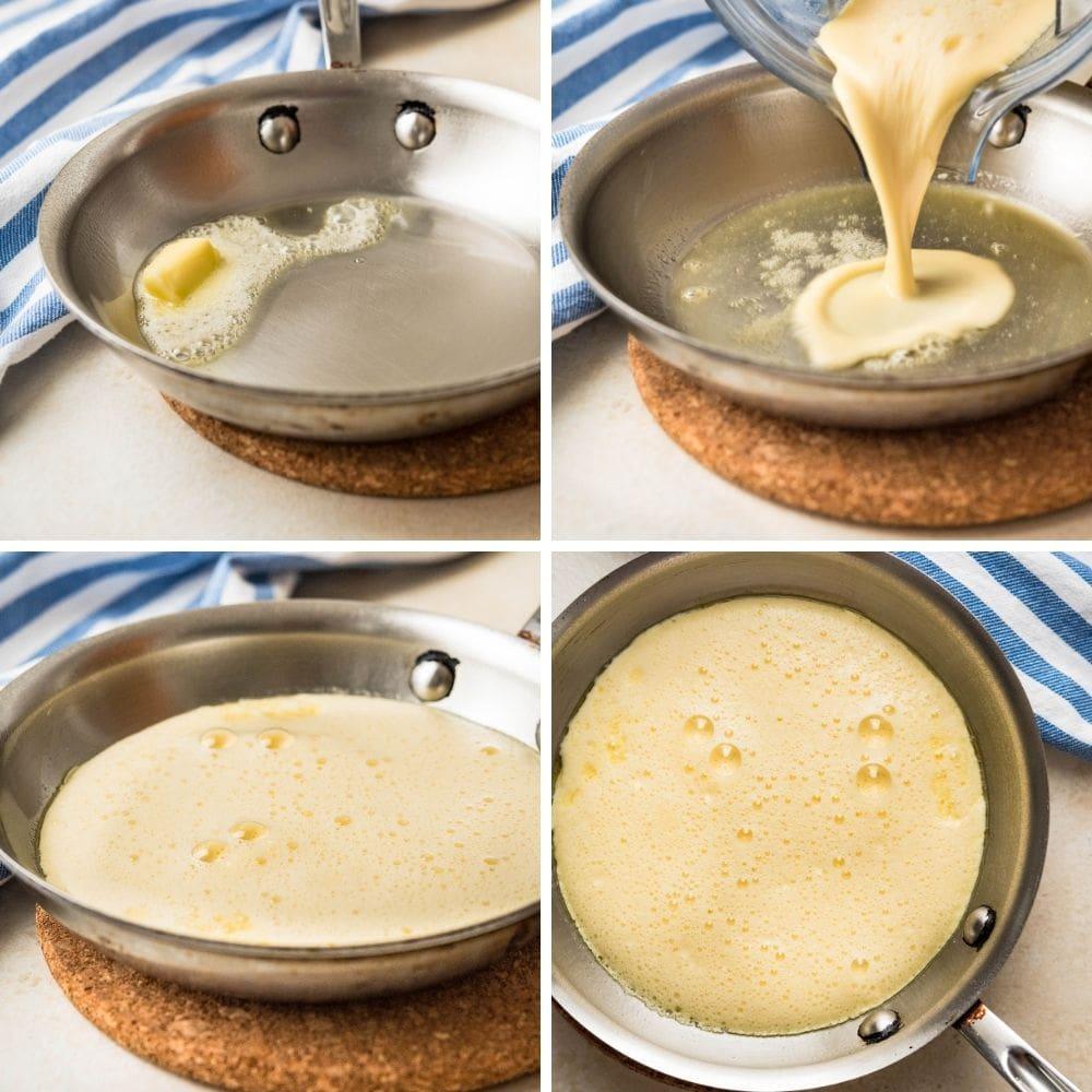 steps for making a fluffy omelette.