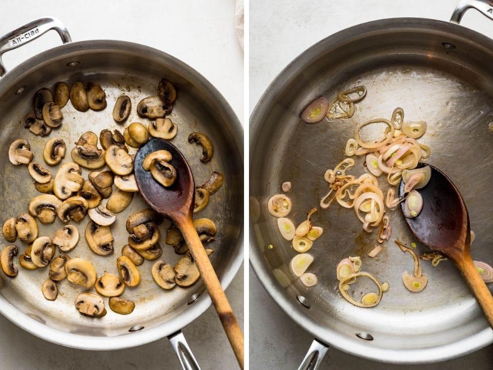sautéing mushrooms and shallots.