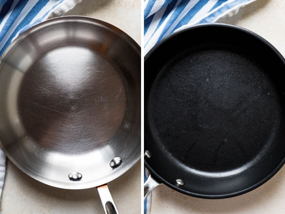 two pans for making omelettes.