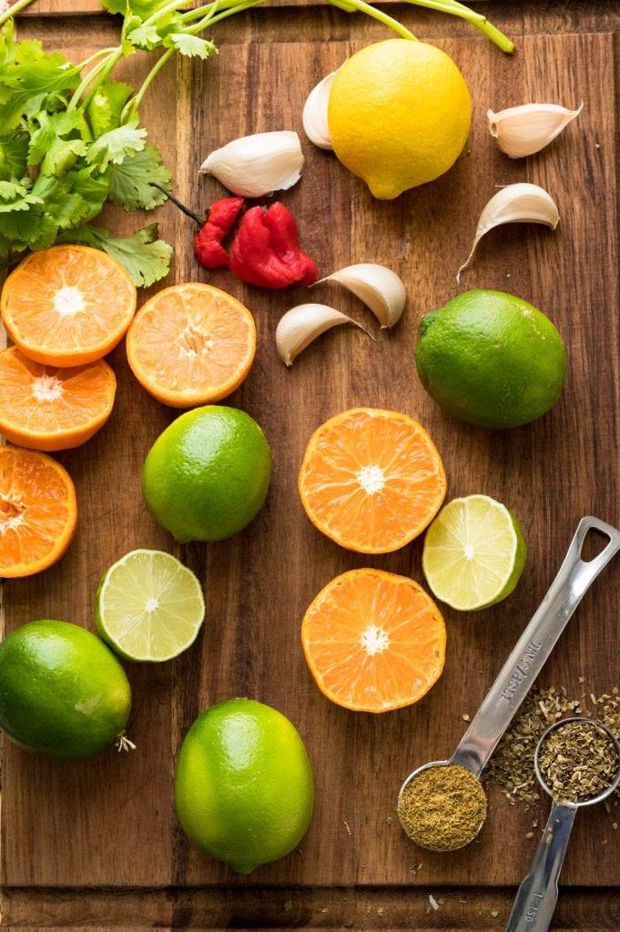ingredients for mojo marinade recipe.