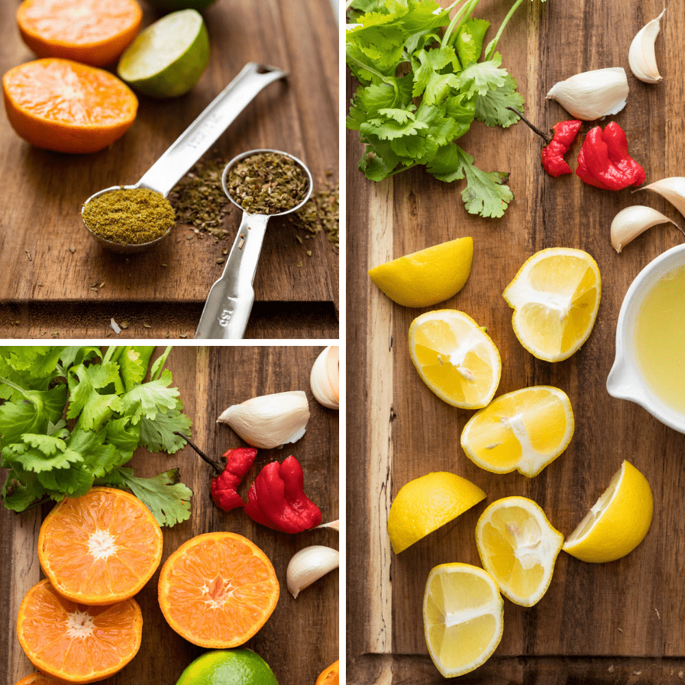 showcasing citrus and spices for the marinade.