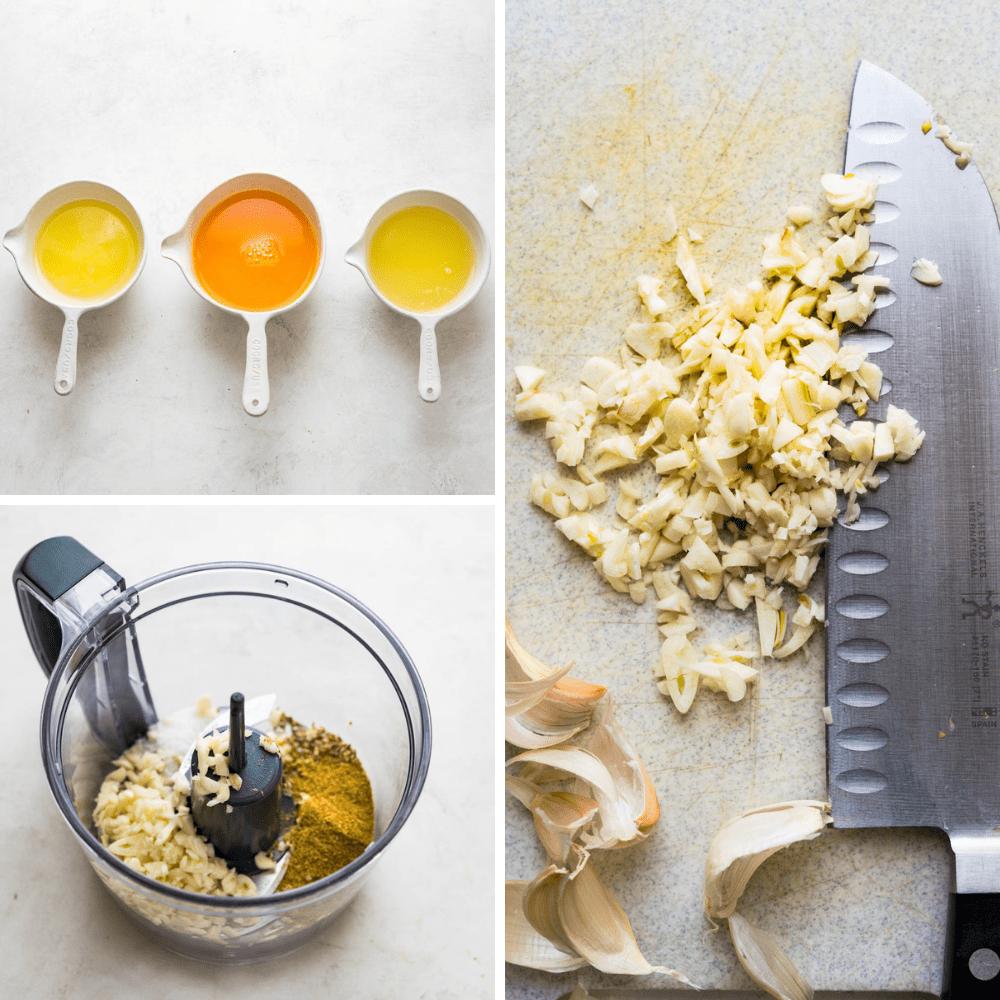 lemon, lime and tangerine juice and chopped garlic.