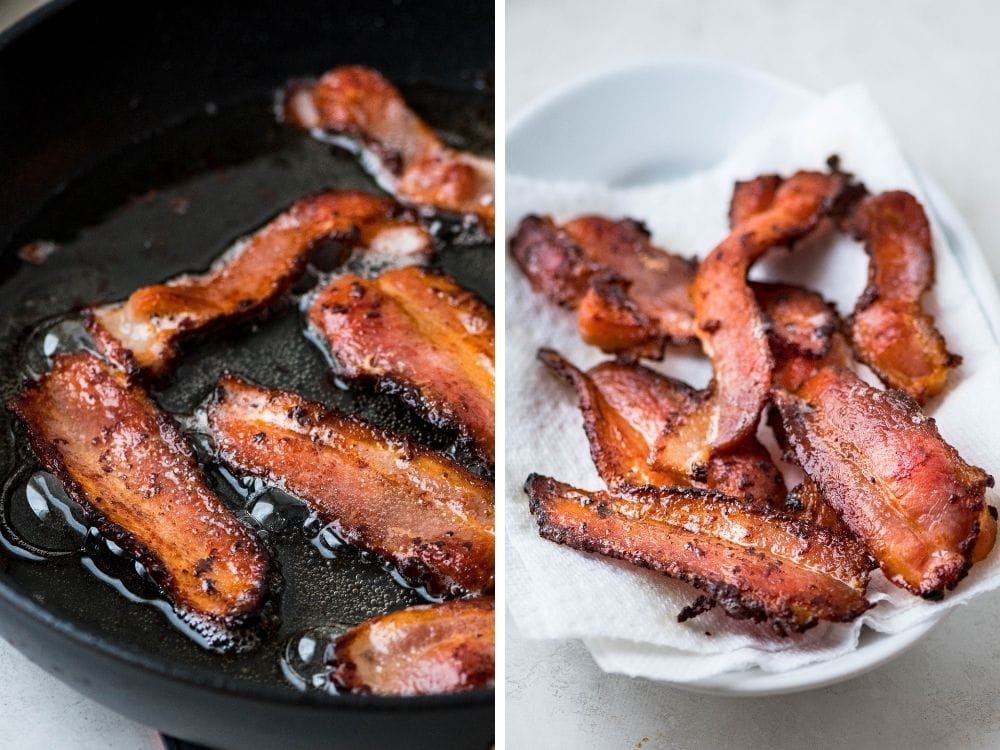 Cooking and draining bacon.