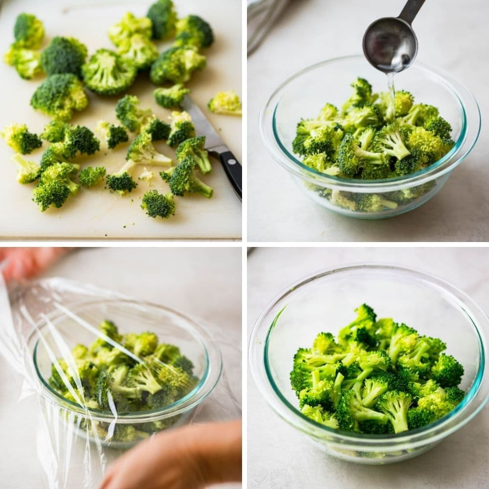 A visual on the steps for blanching broccoli for a make ahead brunch recipe.