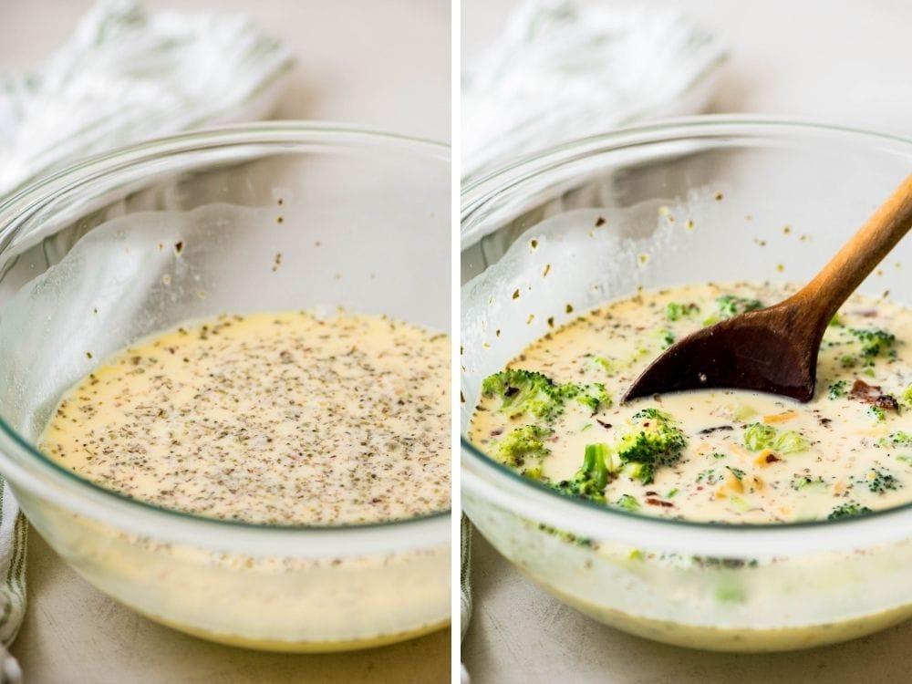 Assembling the bacon broccoli quiche custard.