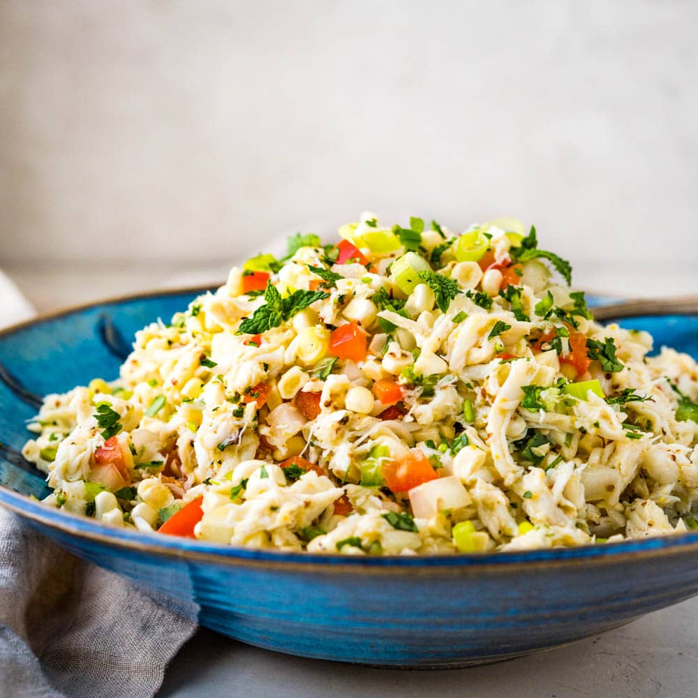 sweet corn and crabmeat salad in a bowl