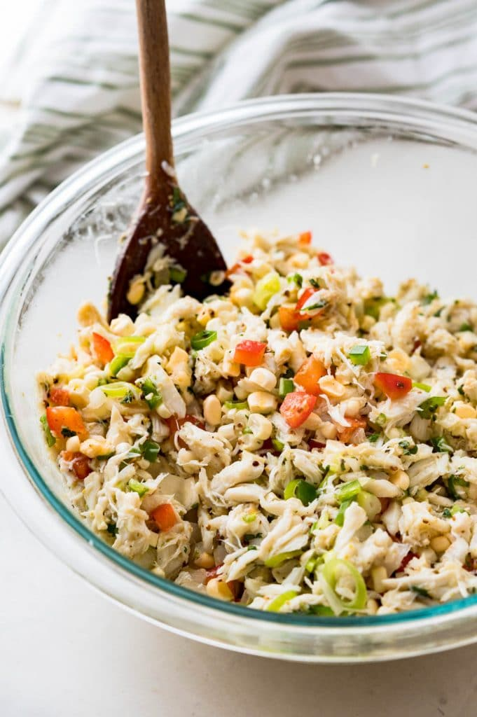 The mixed blue crab salad in a bowl.