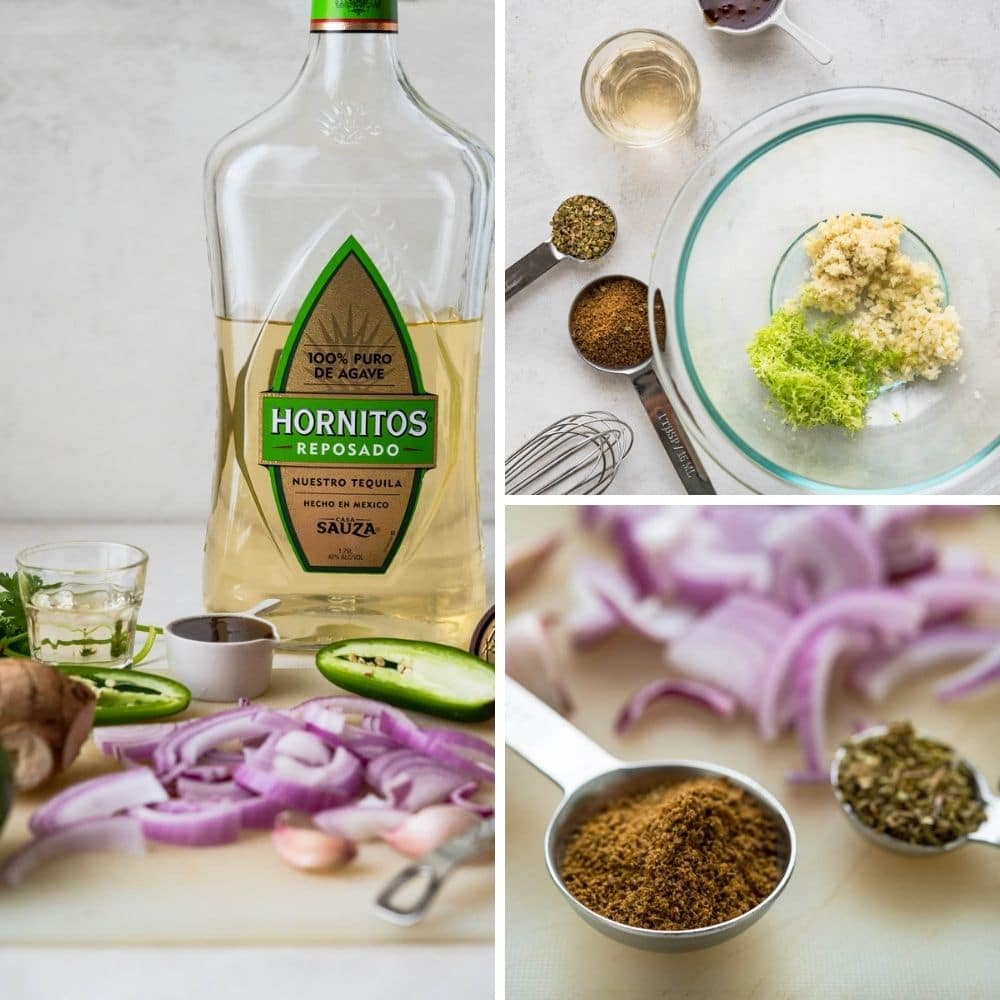 tequila, cumin onion, lime zest, garlic and other ingredients for the cilantro lime marinade.