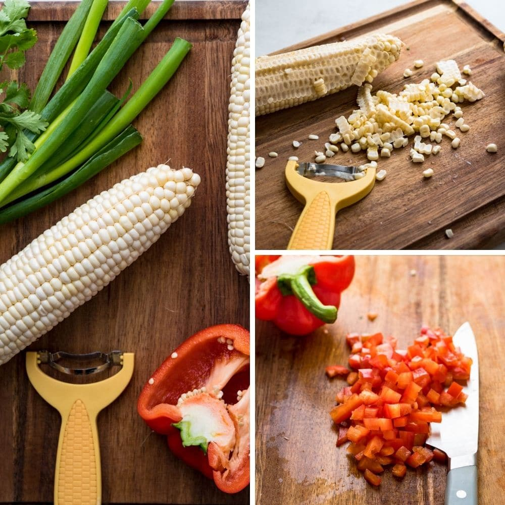 stripping the corn and chopping bell pepper for the crabmeat salad recipe.