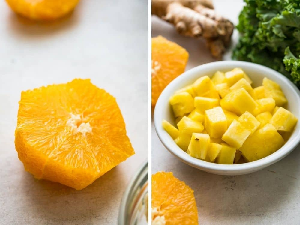 peeled oranges and pineapple for the kale and banana smoothie recipe.