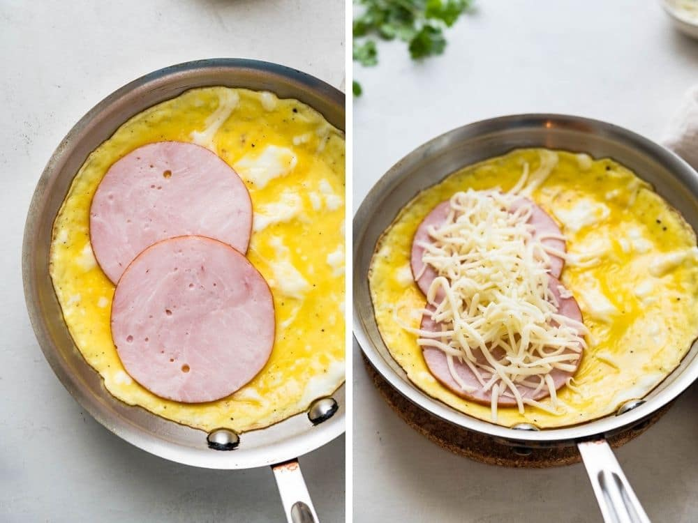 Filling the Hawaiian breakfast omelette with Canadian bacon and cheese.
