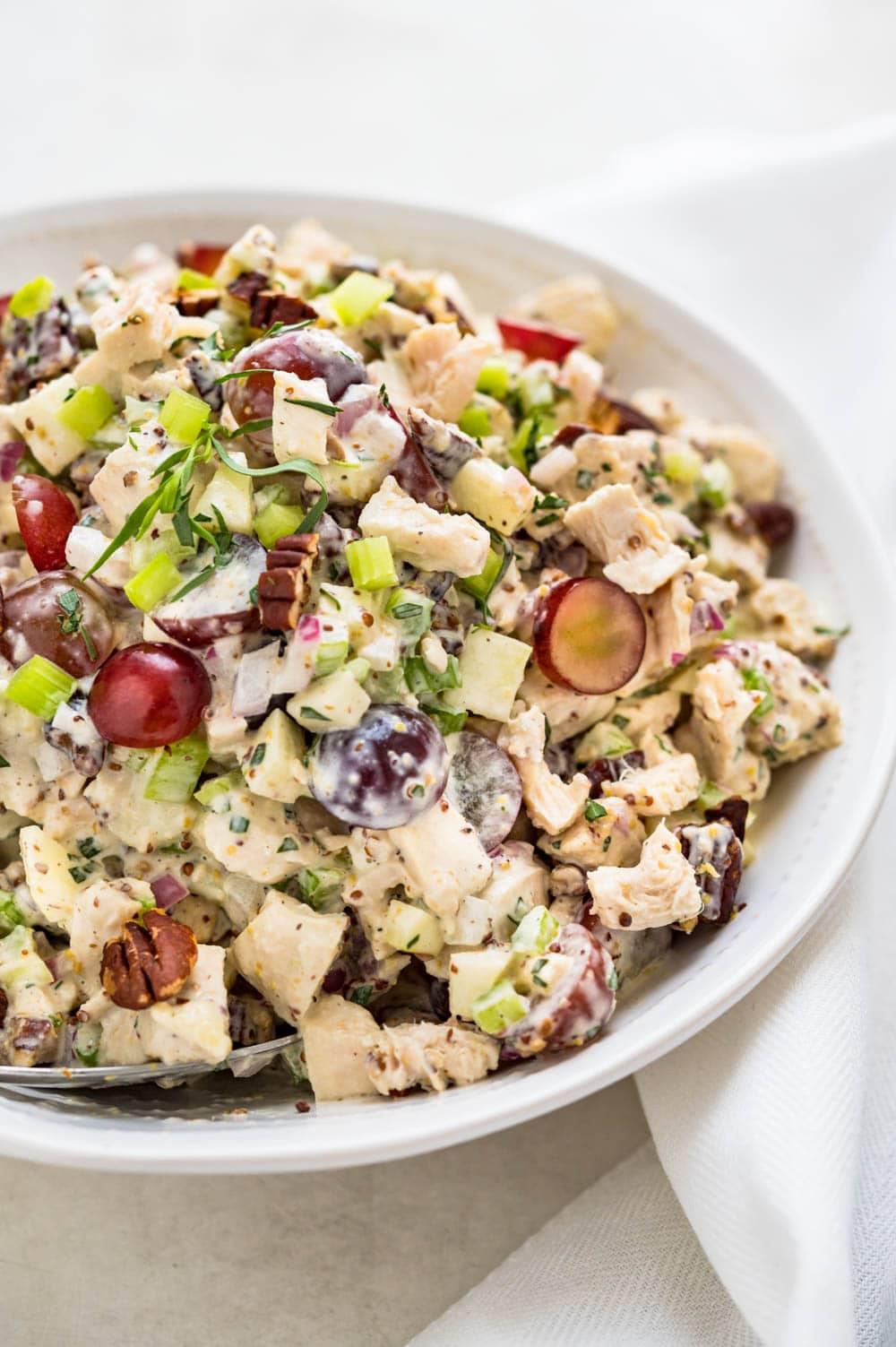 chicken waldorf salad in a serving bowl.