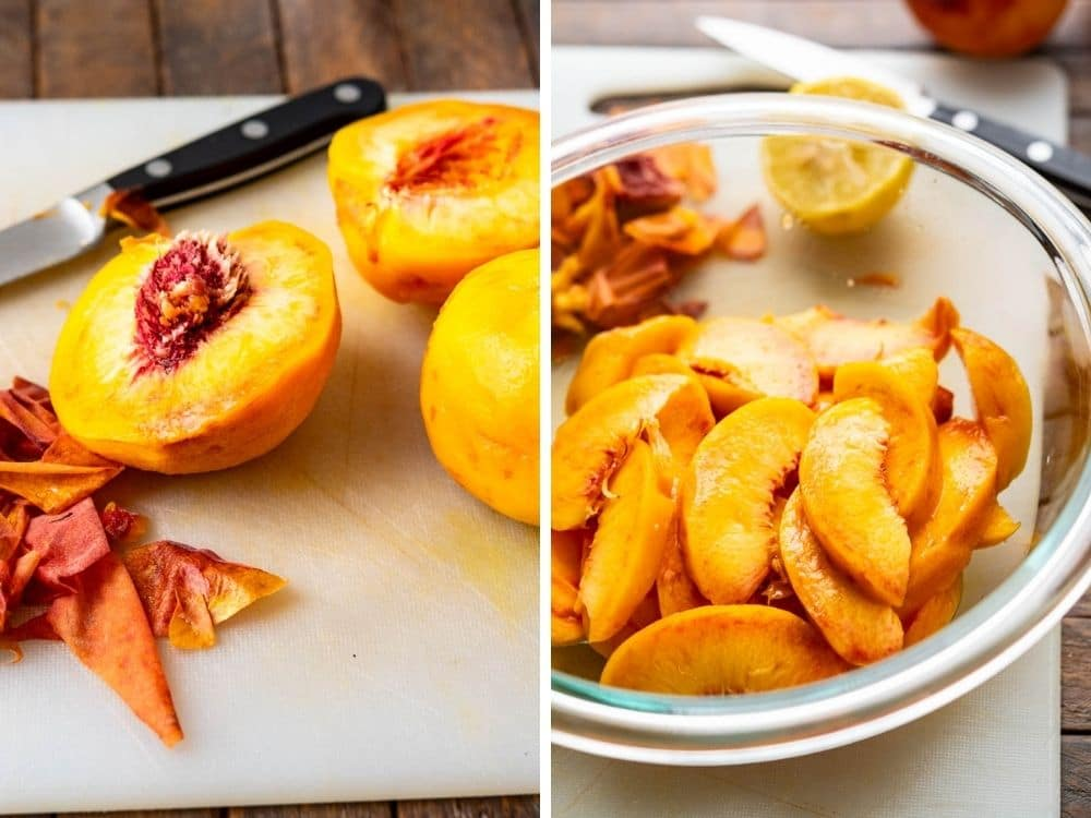 peeling and slicing peaches.