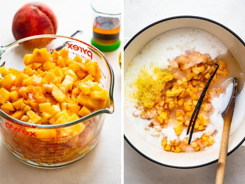 cooking peaches with vanilla, sugar, lemon zest and juice
