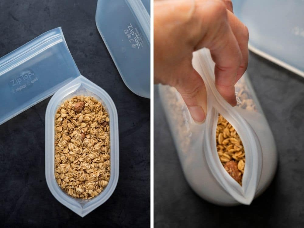 Sealing a zip top dish container with granola.