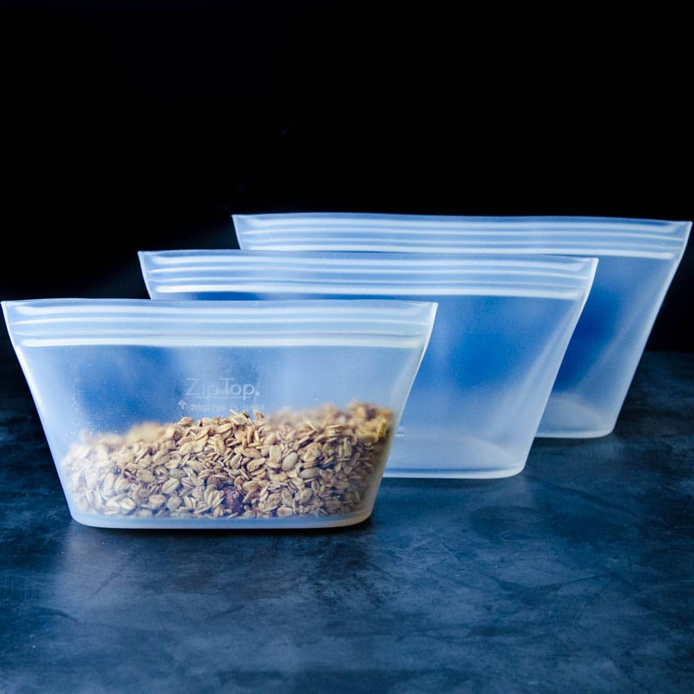 Dish variety of zip top containers.