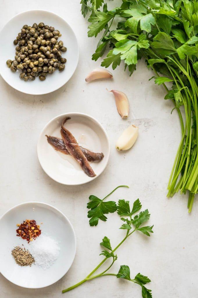 Ingredients for Italian salsa verde.
