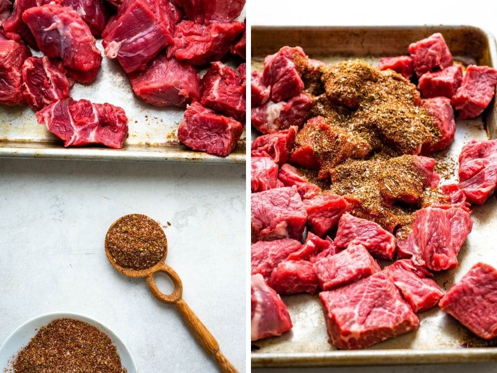 seasoning the meat for shredded beef recipe.