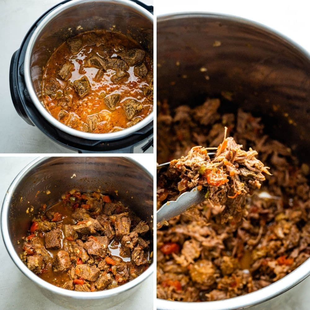 Straining liquid and shredding beef for pulled beef to use in tacos, enchiladas, burritos and sandwiches.
