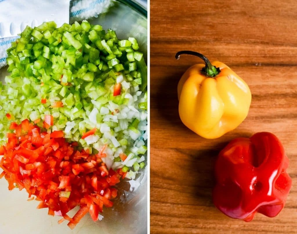 chopped veggies and scotch bonnet peppers.