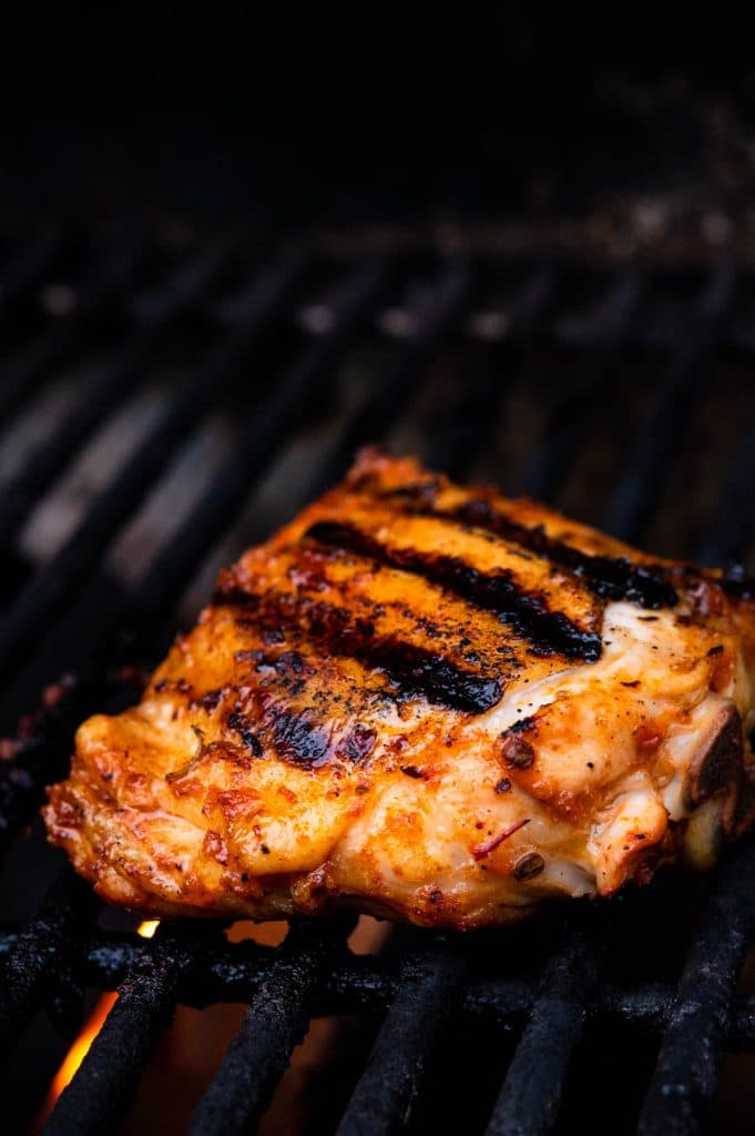 grilling the chicken on the weber gas grill.