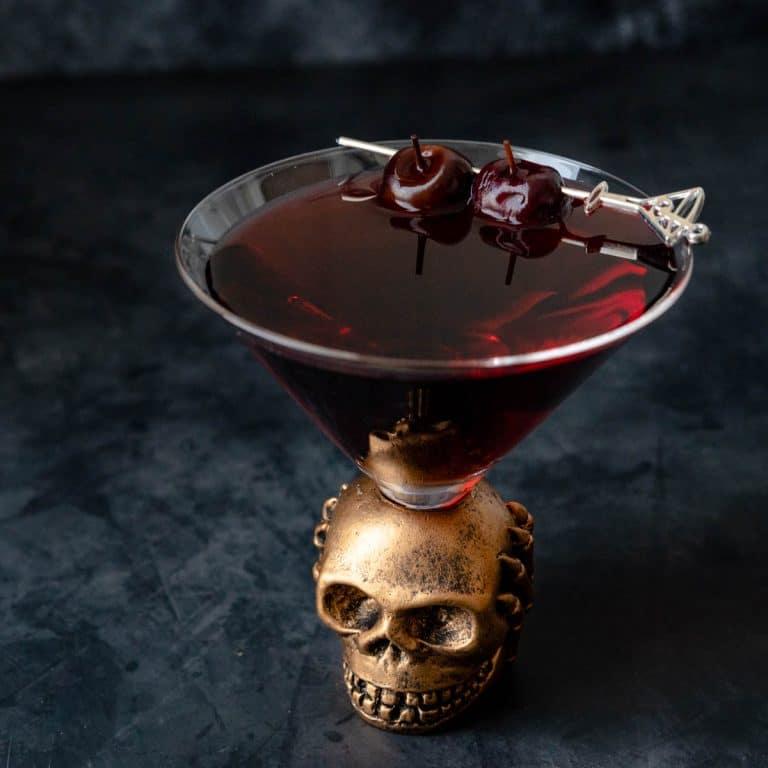 drunken cherry martini in a skull glass.