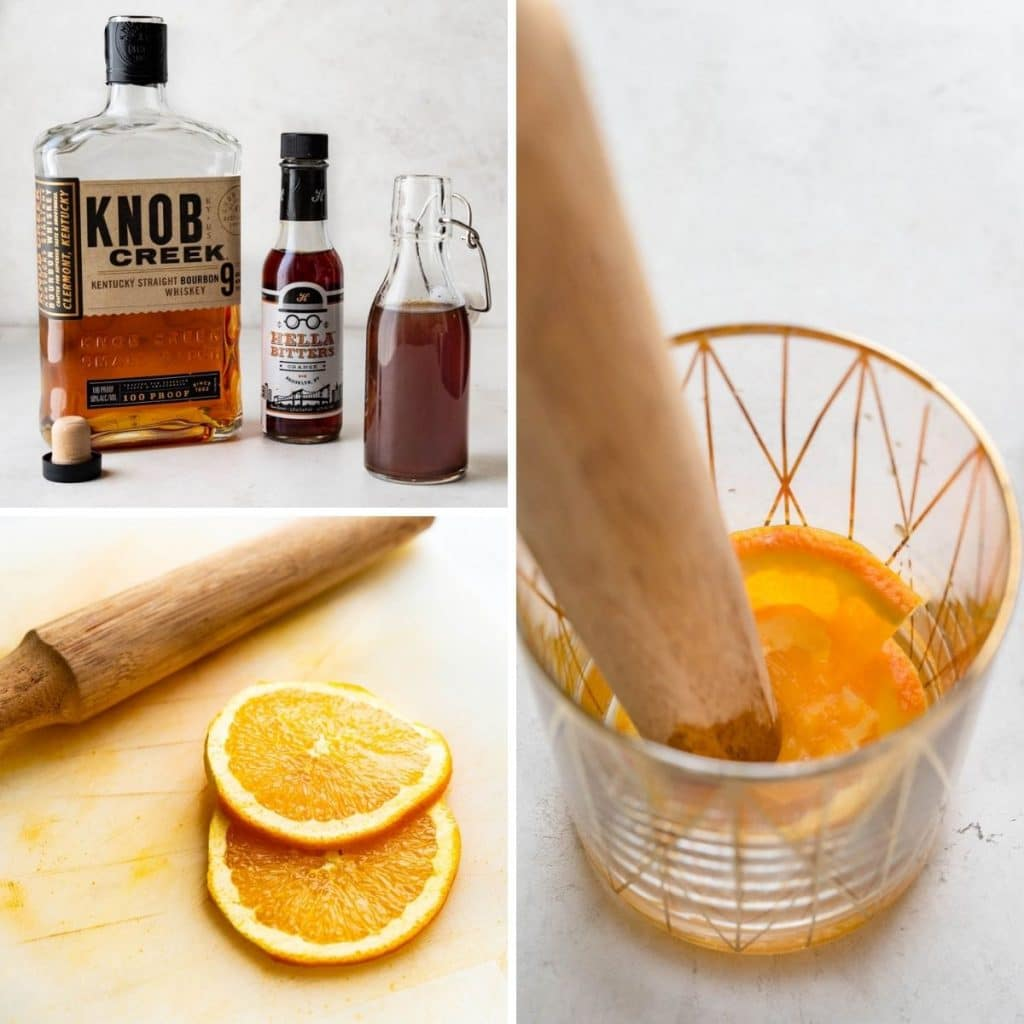 ingredients and muddling orange in a cocktail glass.