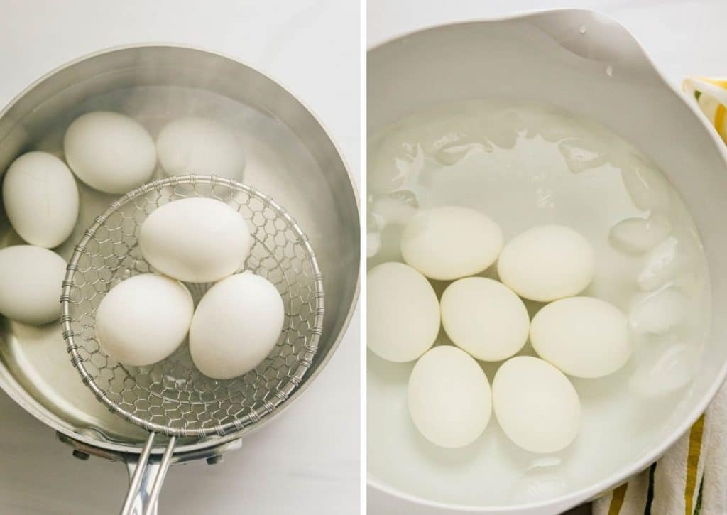 Cooking the eggs in hot water and plunging them into an ice bath to cool.