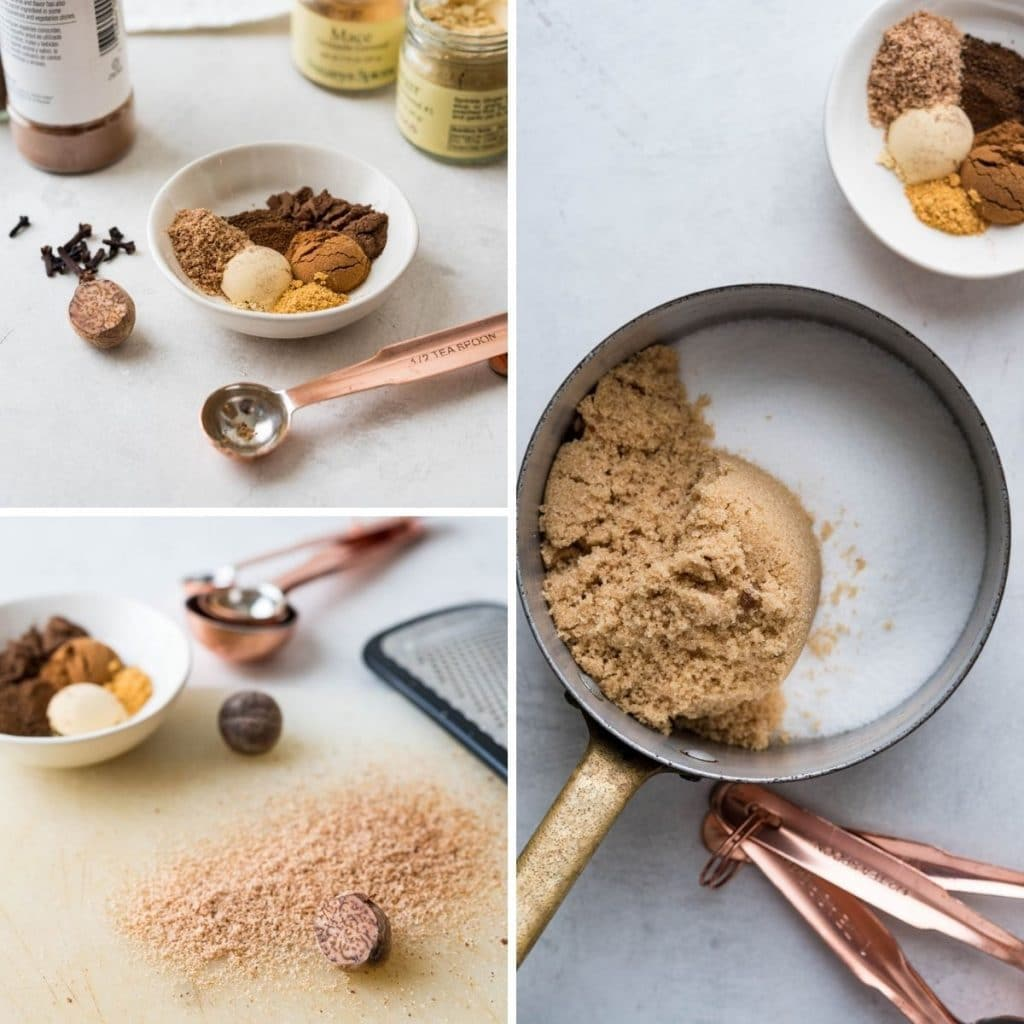 combining ingredients for pumpkin spice simple syrup.