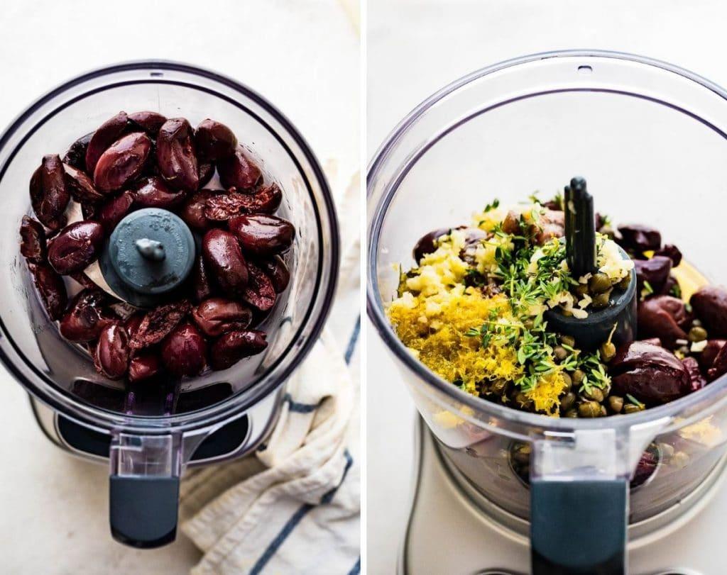 blending the tapenade ingredients in a mini food processor.