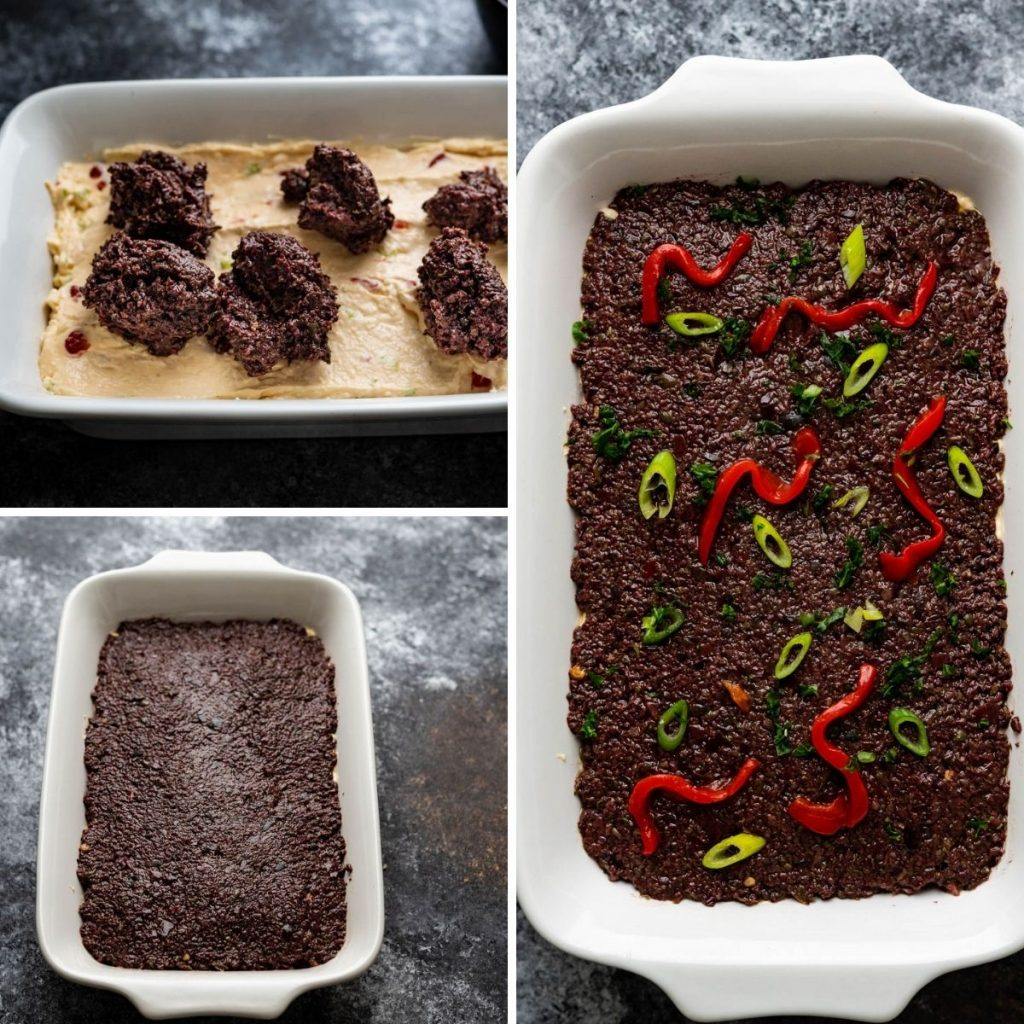 """assembling the Halloween graveyard dip with tapenade """"dirt"""" and red pimento """"worms""""."""