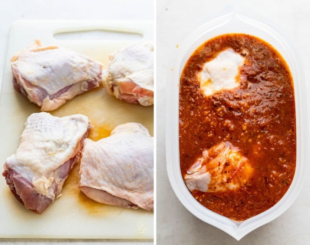 Trim the chicken, place in a Zip Top bag and pour the marinade over.