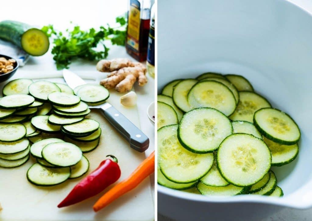 slicing the vegetables.