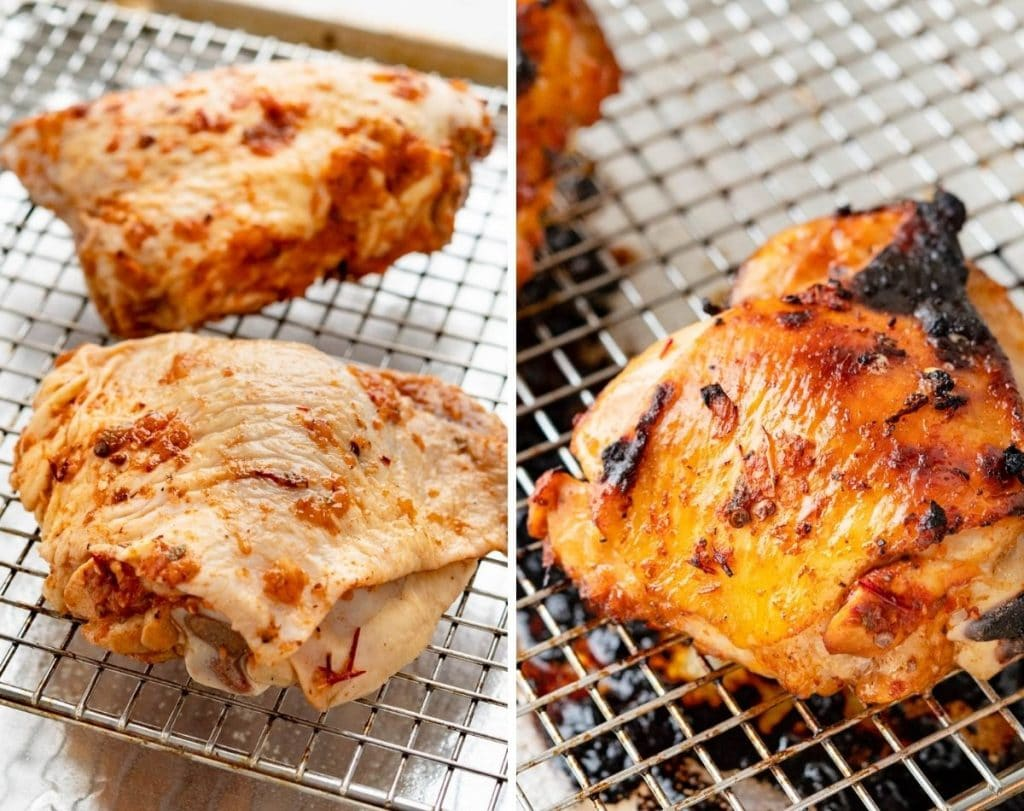 Dry the chicken thighs thoroughly and bake them on a rack in a hot oven to get the skin crispy. Before and after photos.